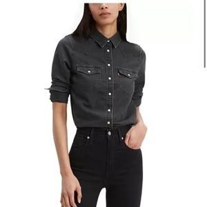 Women's grey wash Levi's classic fit western shirt